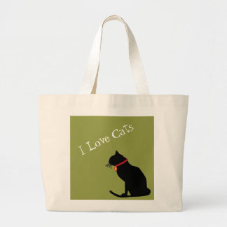 Jumbo I Love Cats Green And White  Graphic Tote ラージトートバッグ