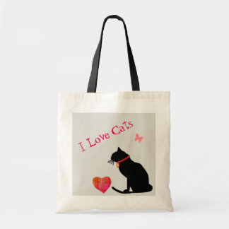 Jumbo I Love Cats Red And White  Graphic Tote トートバッグ