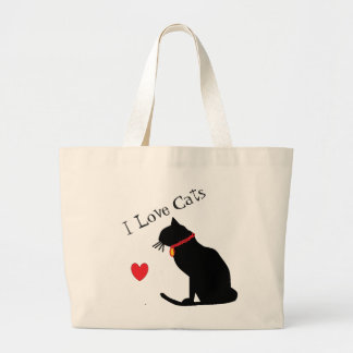 Jumbo I Love Cats Red Heart And White Graphic Tote ラージトートバッグ