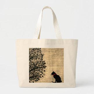 Jumbo Sepia And White Cat Graphic Tote ラージトートバッグ