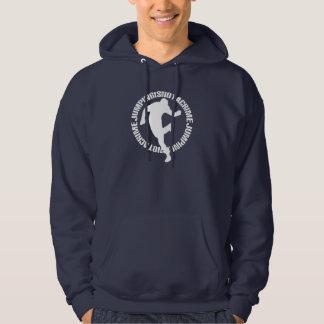 Jumpstyleの濃紺のフード付きスウェットシャツ(文字、前部と) パーカ
