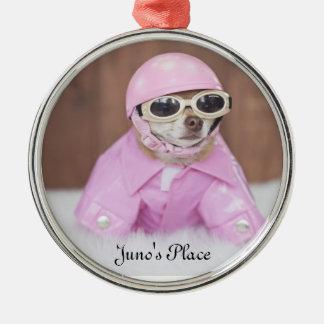 Junoの場所のピンクのオーナメント メタルオーナメント
