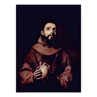 Jusepe de Ribera著AssisiのSt Francis ポスター