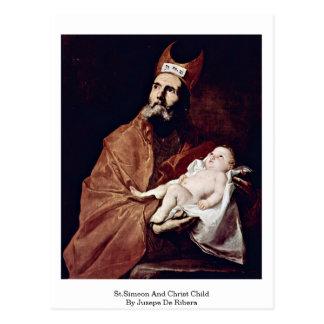 Jusepe De Ribera著St.Simeonそしてキリストの子供 ポストカード