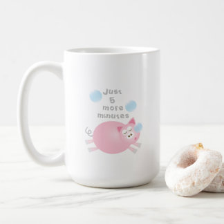 Just Five More Minutes Funny Cute Sleepy Pig コーヒーマグカップ