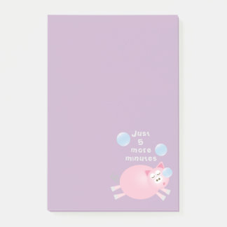 Just Five More Minutes Funny Cute Sleepy Pig ポストイット