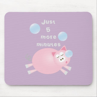 Just Five More Minutes Funny Cute Sleepy Pig マウスパッド