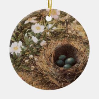 JWの丘によるビクトリアンな芸術、鳥の巣および犬バラ セラミックオーナメント