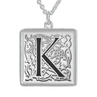 """Kの""""銀のBesque""""の最初のモノグラムのネックレス スターリングシルバーネックレス"""
