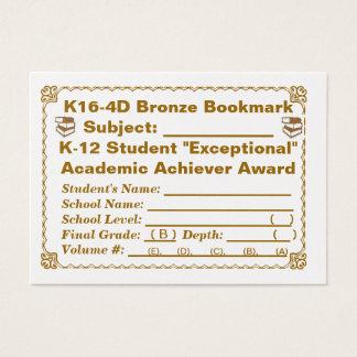 K16-4Dの青銅色のしおり -- すべての主題 -- 100ct 名刺
