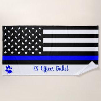 K9役人-警察犬-薄いブルーライン ビーチタオル