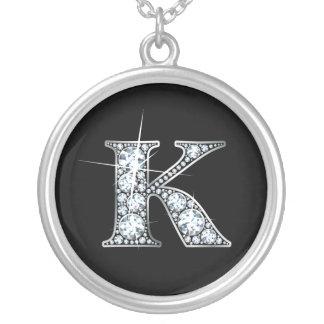 """""""K""""ののど""""ダイヤモンドきらきら光るな""""のネックレス シルバープレートネックレス"""