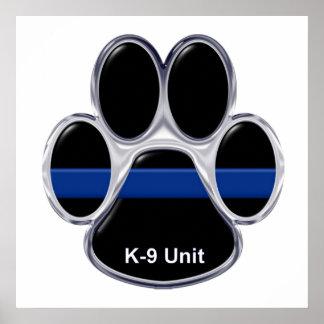 K-9単位の薄いブルーライン ポスター