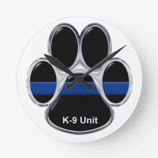 K-9単位の薄いブルーライン ラウンド壁時計
