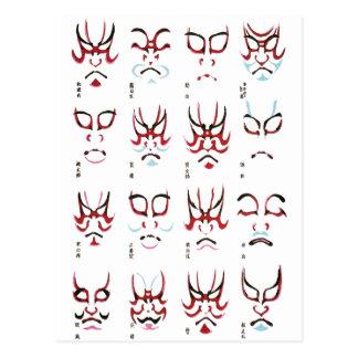 Kabukiの化粧のデザイン ポストカード
