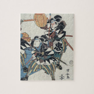 Kabukiショーの3人の武士のUkiyo-eの絵画 ジグソーパズル