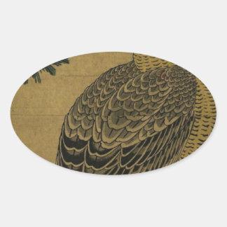 Kachoga。 マツ枝の《鳥》ハヤブサ、上で朝日 楕円形シール
