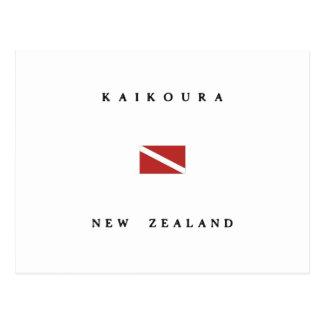 Kaikouraニュージーランドのスキューバ飛び込みの旗 ポストカード