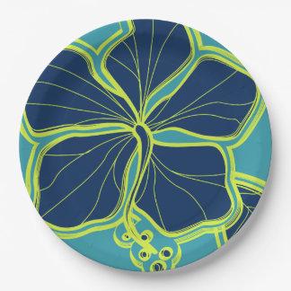 Kailuaのハイビスカスのハワイアンによって設計される花柄 ペーパープレート
