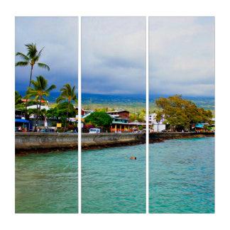 Kailua Kona桟橋のハワイの油性ペイントのデジタル芸術 トリプティカ
