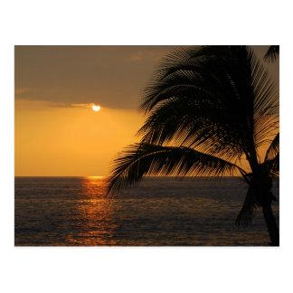 Kailua Kona、ハワイの日没の郵便はがき ポストカード