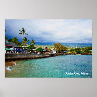 Kailua Kona、ハワイ • 油性ペイントのデジタル芸術 ポスター