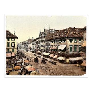Kaiser Strasse、カルルスルーエ、Badenのドイツクラシック ポストカード
