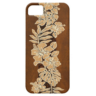 Kalaheoのハワイのハイビスカスの樹皮布の模造のな木製のiPhone 5 iPhone SE/5/5s ケース
