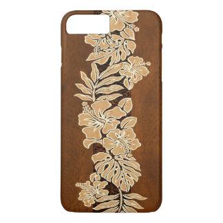 Kalaheoのハワイのハイビスカスの樹皮布の模造のなKoa木 iPhone 8 Plus/7 Plusケース