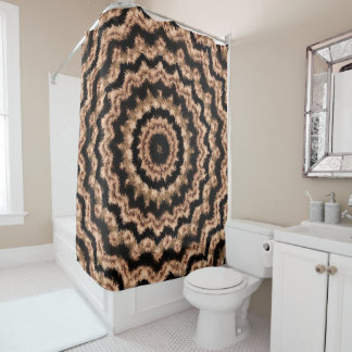 Kaleidoscope Beige Circular Pattern Shower Curtain シャワーカーテン