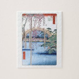 Kameidoの神社のHiroshigeのファインアートの藤 ジグソーパズル