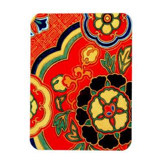 Kara Nishikiの赤く中国のなブロケードのプリント1825年 マグネット