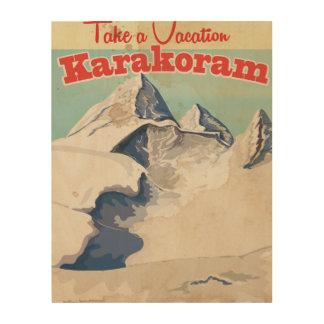 Karakoramのヴィンテージの休暇ポスター ウッドウォールアート