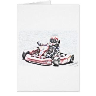 Kartのレーサーによって影で覆われるスケッチ カード
