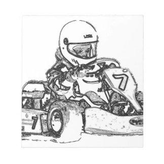 Kartの競争の鉛筆のスケッチ ノートパッド