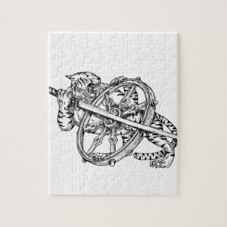 KatanaおよびDharmaの車輪の入れ墨を持つトラ ジグソーパズル