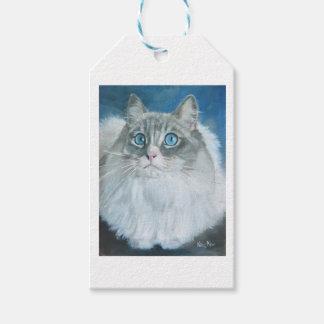 Kate MarrのギフトのラベルによるRagdoll猫の油絵 ギフトタグ