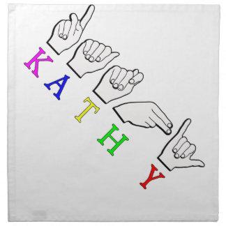 KATHY FINGERSPELLED ASLの一流の印 ナプキンクロス