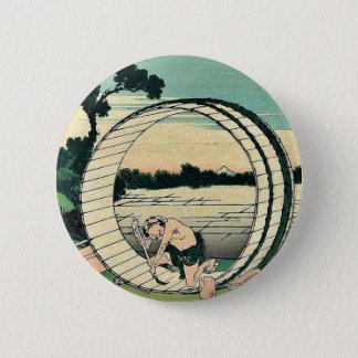 KatsushikaのHokusaiの浮世絵著Bishuのfujimigahara 5.7cm 丸型バッジ