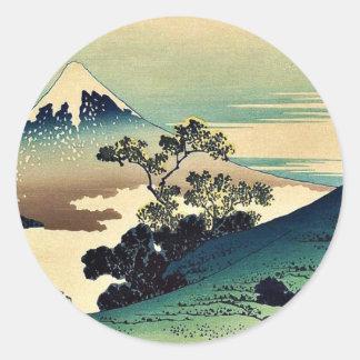 KatsushikaのHokusaiの浮世絵著Koshuのinumeのtoge ラウンドシール