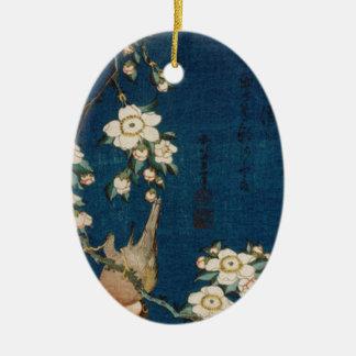 Katsushika Hokusaiの葛飾北斎のGoldfinchおよび桜 セラミックオーナメント