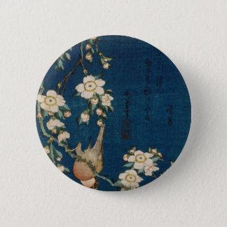 Katsushika Hokusaiの葛飾北斎のGoldfinchおよび桜 缶バッジ