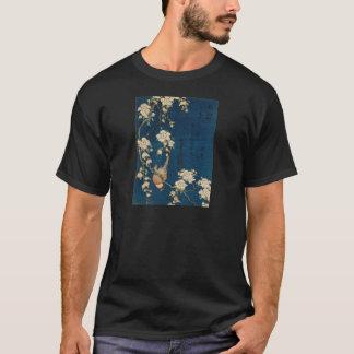 Katsushika Hokusaiの葛飾北斎のGoldfinchおよび桜 Tシャツ