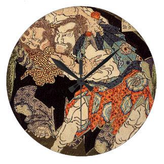 Katsushika Hokusaiの「相撲のレスリング選手」の時計 ラージ壁時計