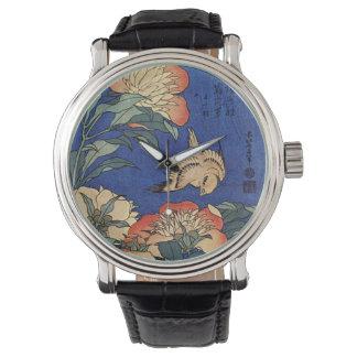 Katsushika Hokusaiの「花」の腕時計 腕時計