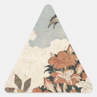 Katsushika Hokusai著かっこうそしてツツジ 三角形シール
