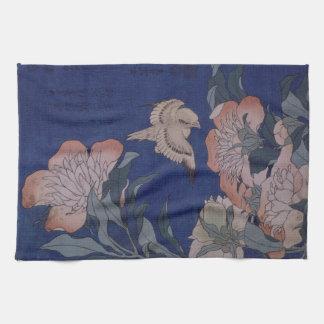Katsushika Hokusai著カナリアそしてシャクヤク キッチンタオル