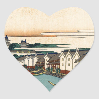 Katsushika Hokusai著江戸のNihonbashi橋 ハートシール