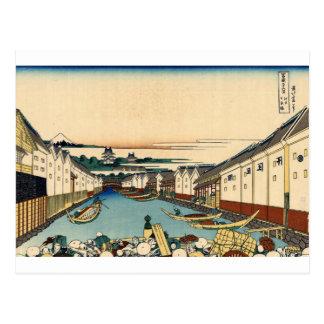 Katsushika Hokusai著江戸のNihonbashi橋 ポストカード