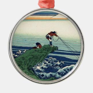 Katsushika Hokusai著甲斐国の鰍沢町 メタルオーナメント
